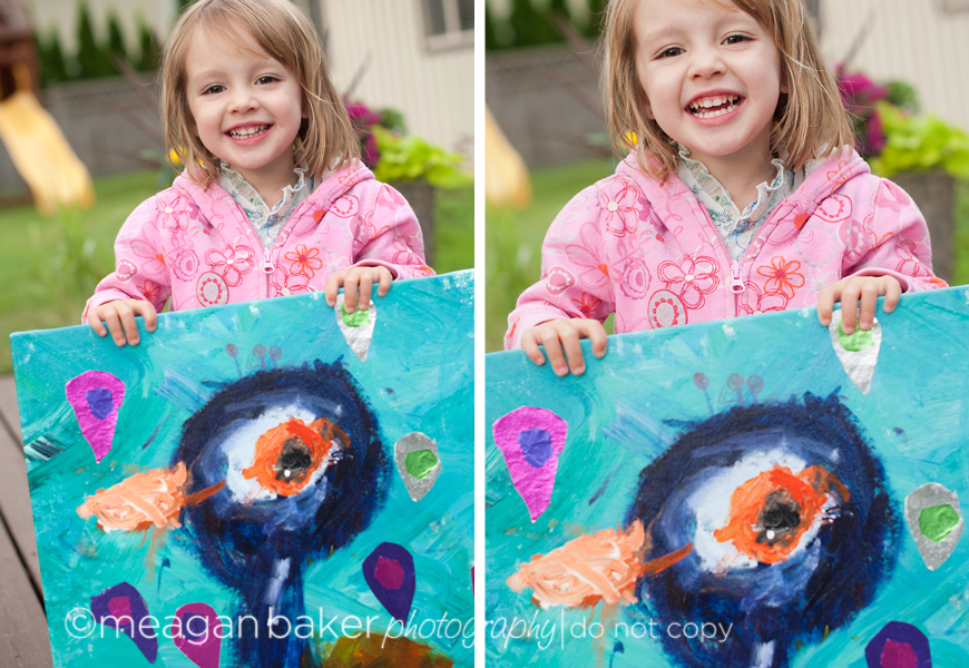 little girl holding painting, 4 cats art studio south surrey
